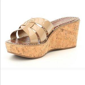 Sam Edelman Reynere Slip on Sandals in Tan Patent